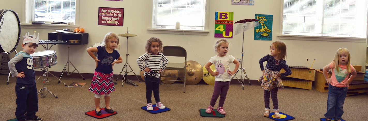 preschool students at music